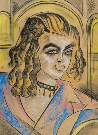 Cigarettázó Hölgy