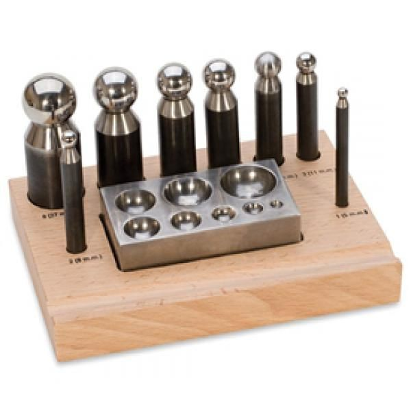 Essential Dapping Set Essential Dapping Set. Includes eight dapping tools with matching block, really all one needs for virtually any job. Cavity sizes are 28, 24, 20, 18, 15, 12, 9 and 6mm with corresponding punches. Block is completely smooth on opposite side for use as a bench block.