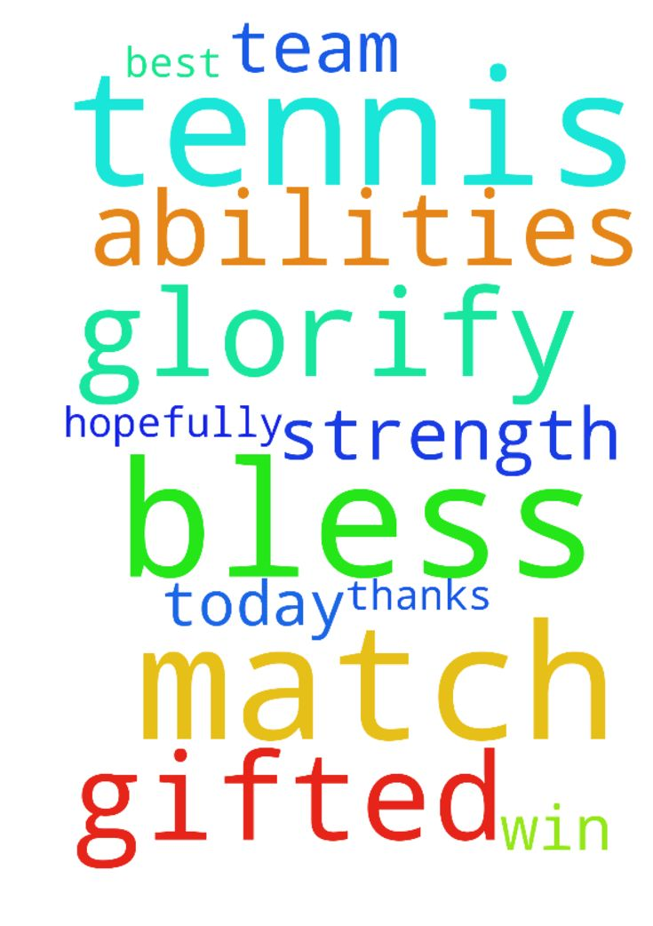 Tennis match -  I have a tennis match today and I ask for prayer that God bless me and my team with the strength to do our best and glorify Him with the abilities He has gifted us with and hopefully get a win. Thanks and God bless  Posted at: https://prayerrequest.com/t/CgN #pray #prayer #request #prayerrequest