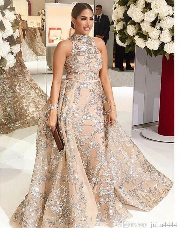 2ea60461b06 2018 Yousef Aljasmi Dubai Arabic Evening Dresses Prom Gowns Overskirt  Detachable Train Champagne Mermaid Lace Applique Party Dress High Neck