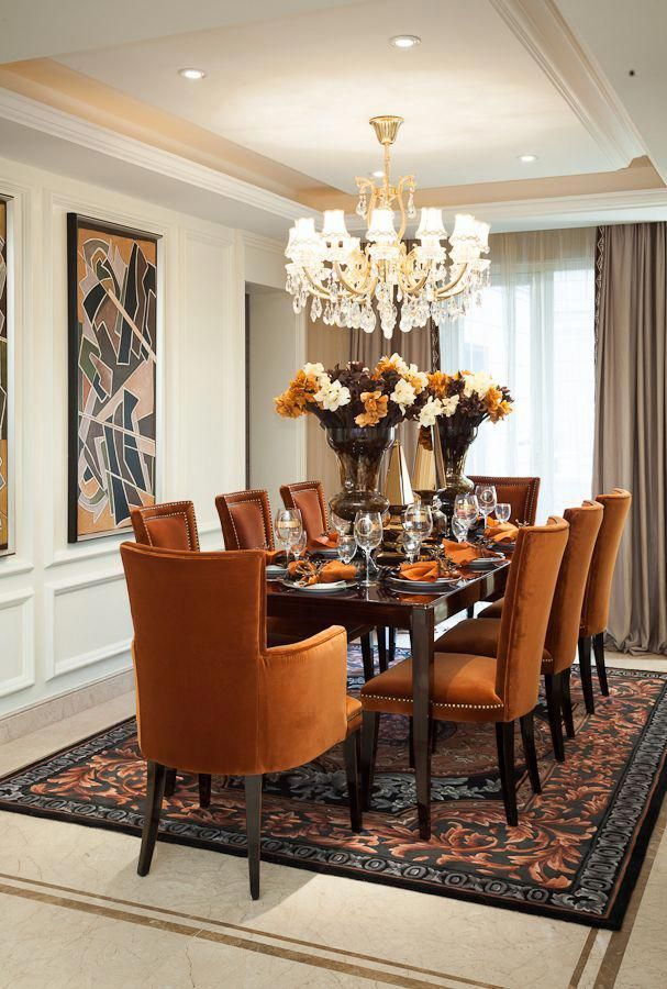 I love the burnt orange chairs! #Diningroomdecorating ...