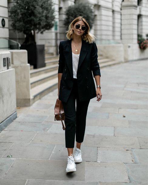 Jacket, black blazer, white top, white …