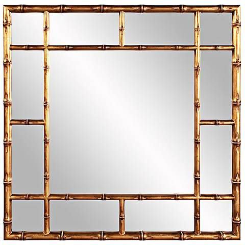 "Howard Elliott Bamboo 40"" Square Country Gold Wall Mirror"