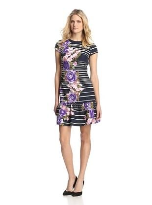 66% OFF Muse Dresses Women's Floral & Striped Flounce Dress (Navy/Lilac)