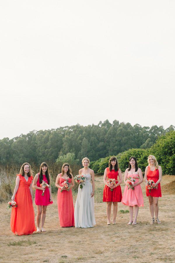bridesmaids in coral // photo by Delbarr Moradi // http://ruffledblog.com/romantic-pescadero-wedding