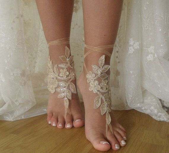 Beach Weddings Barefoot Sandals. pearl and sequin embroidered applique on champagne. flexible connecting wrist  A great accessory for the beach wedding. barefoot sandals ideal for champagne lace wedding photos. A nice gift for bridesmaids. Instant discount on bulk shopping for bridesmaid Please contact me for different colors and sizes.   FREE SHİPPİNG  I usually send the Turkish postal services.  Products 24 hours after purchase, mail given product. On weekends given product mail after 48…