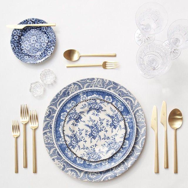 Blue Fleur de Lis Chargers + Blue Garden Collection Dinnerware + Gold Collection Flatware + Czech Crystal Coupe Trios + Antique Crystal Salt Cellars | Casa de Perrin Design Presentation