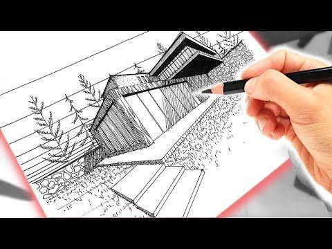 Dibujo De Una Casa Usando Perspectiva A Dos Puntos De Fuga Youtube Punto De Fuga Dibujos De Puntos 3 Puntos De Fuga