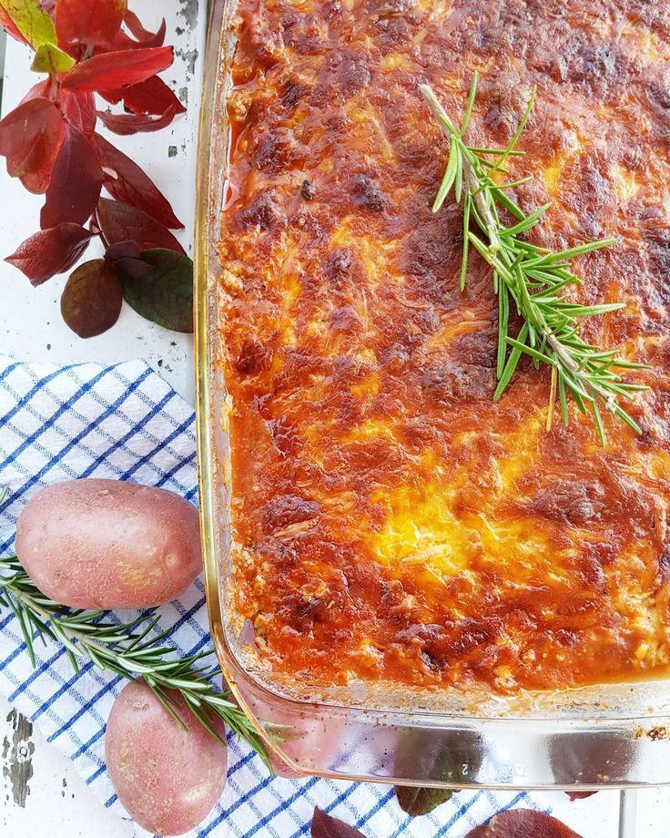 Potetlasagne med lammekjøttdeig og lynrask ostesaus
