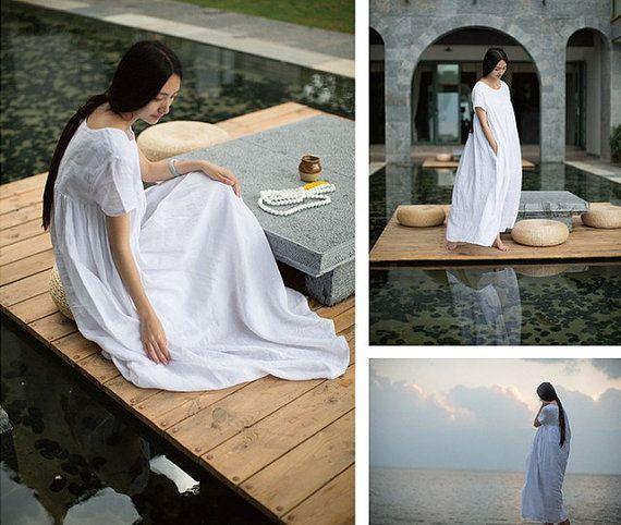 maxi linen dress in white White Beach Dress Summer by camelliatune