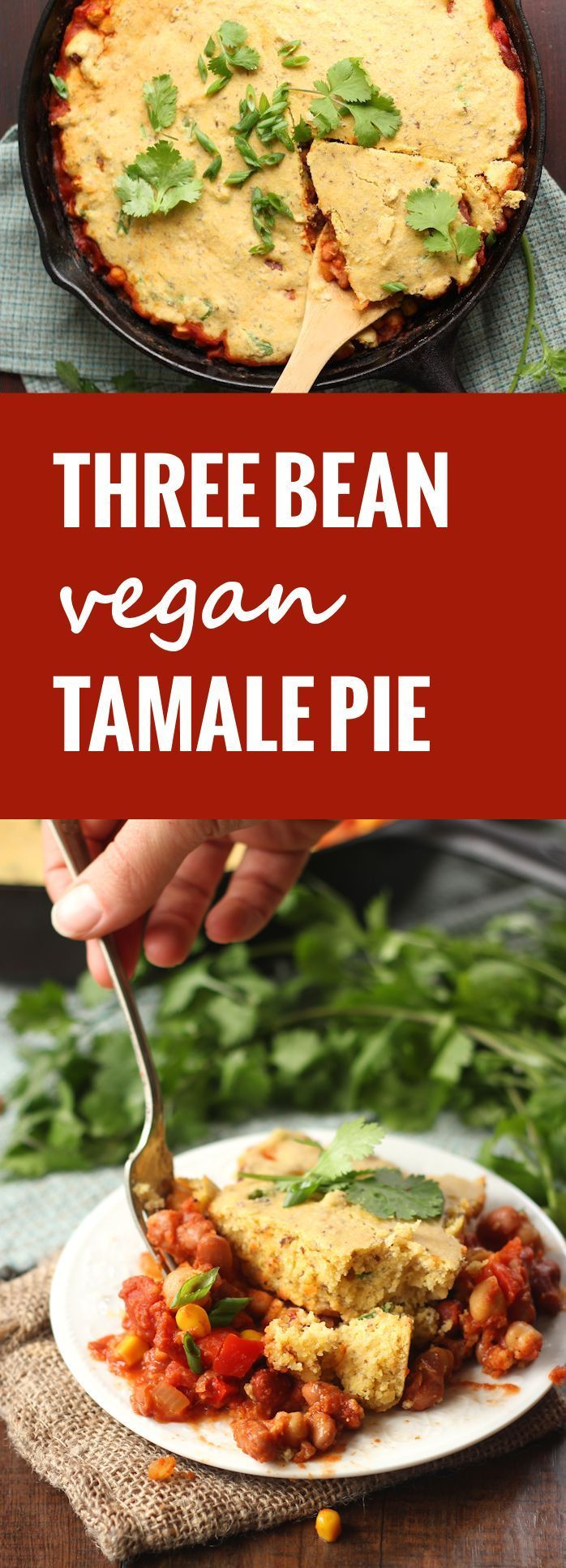 This vegan tamale pie is made with a mixture of chickpeas, pinto beans and red beans simmered in spicy tomato sauce and baked with a cornbread crust.
