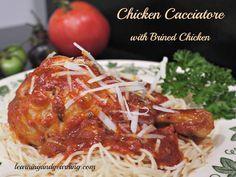 Chicken Cacciatore made with brined chicken is tender and juicy!