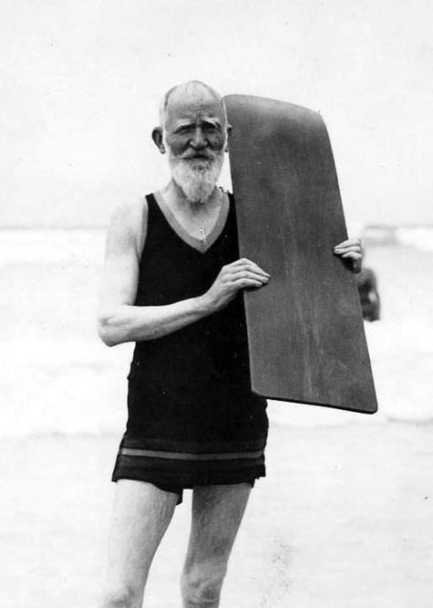 George Bernard Shaw, going surfing (at the Muizenberg beach at the age of 75 – photo taken in 1931)