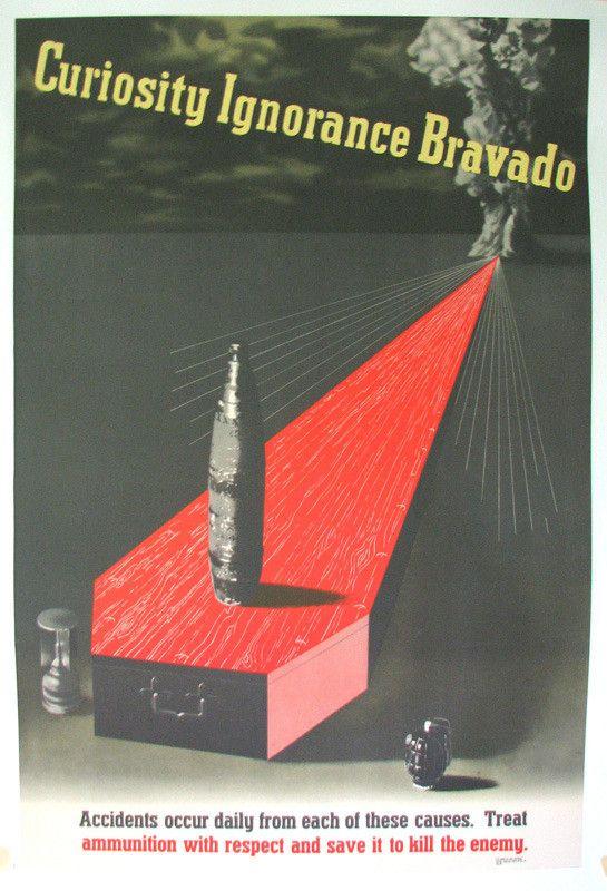 "1943 Abram Games WW2 ""Curiosity, Ignorance, Bravado"" Vintage Poster"