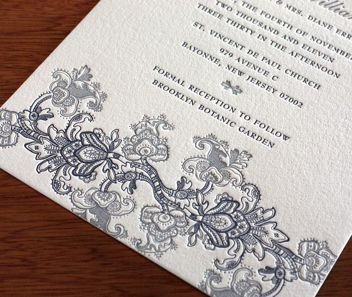 An elegant floral lace motif featured on our Mantilla design.  This is perfect for vintage weddings and also beloved by our Indian brides.  | Invitations by Ajalon | http://invitationsbyajalon.com/