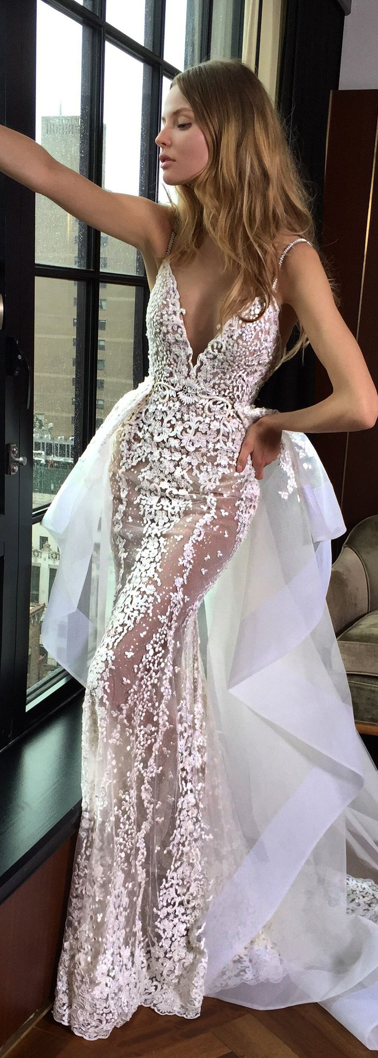 We love how the playful train on this @bertabridal gown flairs out from the waist, so chic!