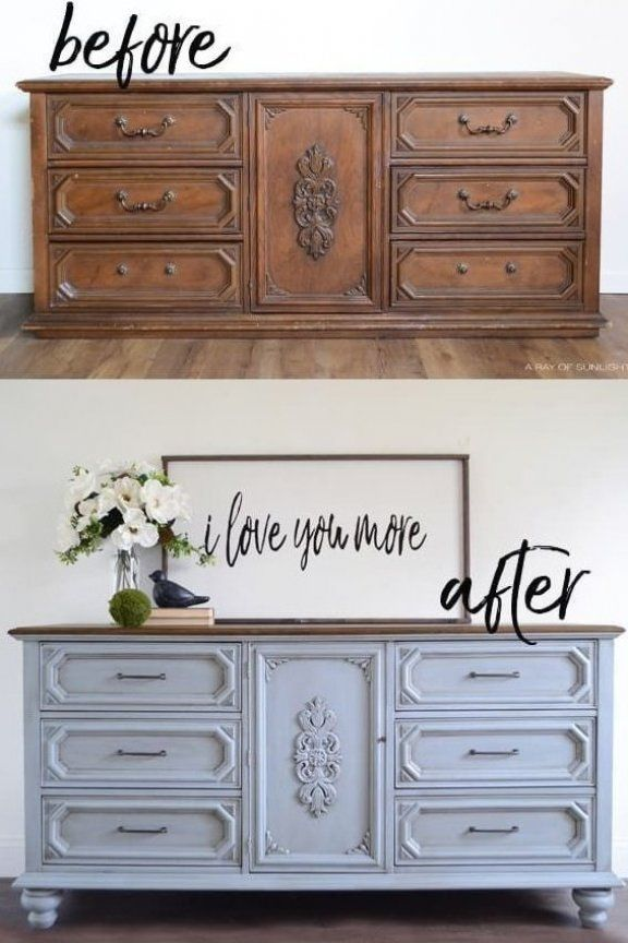 How To Add Legs To Painted Furniture Dresser Buffet Nightstand Or End Table This Is The E In 2020 Furniture Renovation Diy Furniture Renovation Furniture Makeover