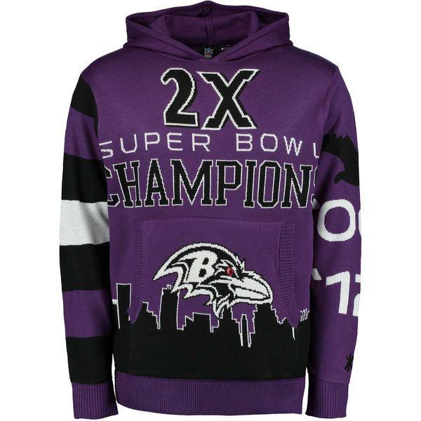 Baltimore Ravens Klew Super Bowl XXXV Champions Commemorative Pullover Hoodie- Purple - $59.99
