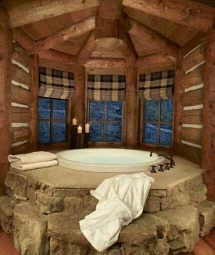 Log Cabin Bathroom Log Homes House Pinterest