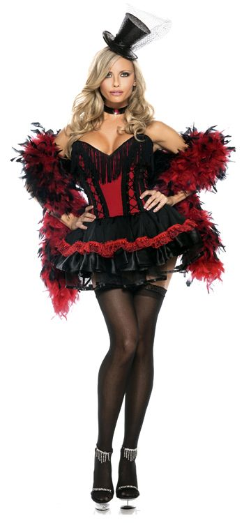 Saloon Girl Plus Size Costume. This harlot dress of the Old West brothel will demand attention from an entire room. Costume includes a strapless red bustier w/ black lacing accents, plunging black fringed neckline & an attached black satin mini skirt with red lace ruffle trim & a black choker w/ red jewel. This Madame showgirl a hit. Designed with burlesque inspiration, create a scandalous & sexy persona for your character in our sexy adult Speak Easy Saloon Girl costume for plus size women.