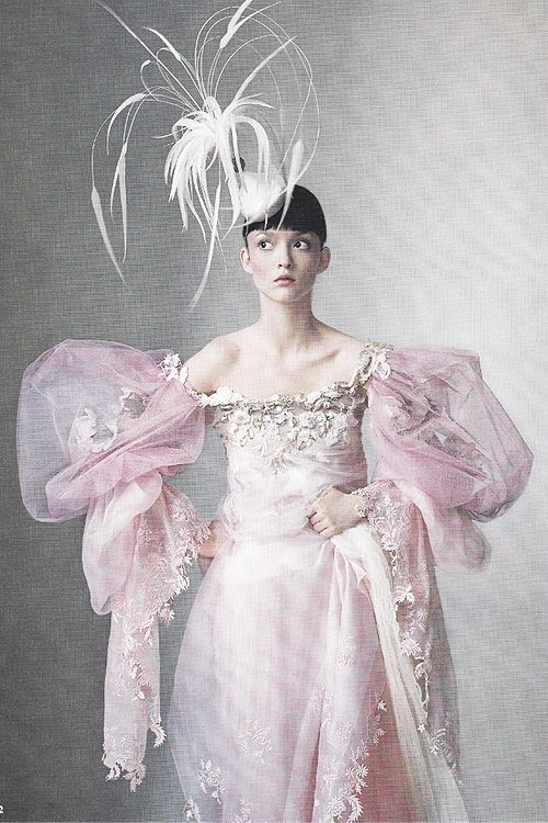 "Audrey Marnay wears a pink organza and tulle dress by Christian Lacroix Haute Couture in ""Age of Opulence"" ph. by Irving Penn 