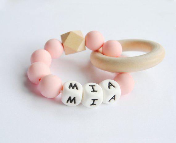 Teething ring//Customized teething ring//Silicone teething toy with name//Teething rattle with name