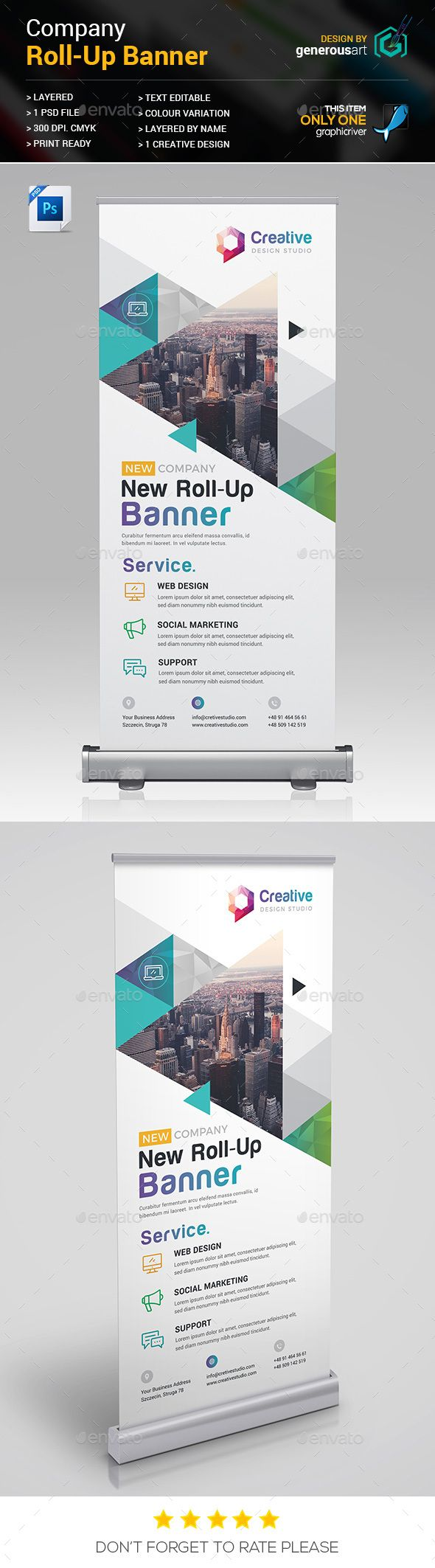 Company Rollup Banner — Photoshop PSD #template #rollup banner • Available here → https://graphicriver.net/item/company-rollup-banner/20694745?ref=pxcr