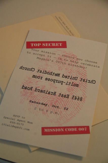 Spy party invites - mirror image