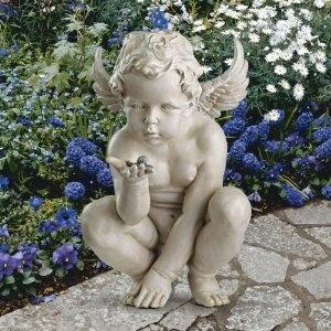 Curious Baby Angel Cherub Garden Statue Sculpture