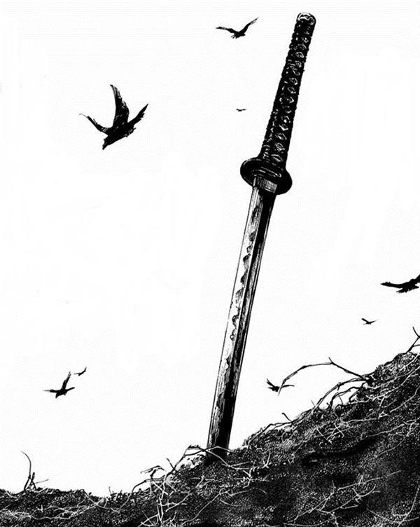 Bonito dibujo de una espada abandonada