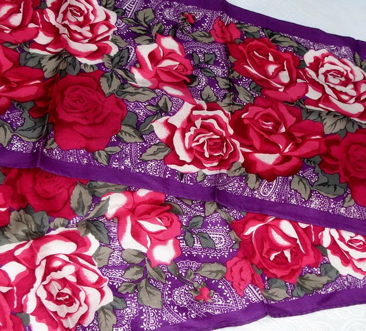 80s Elaine Gold SILK long Purple Pink ROSES Jeweled floral vintage scarf sash