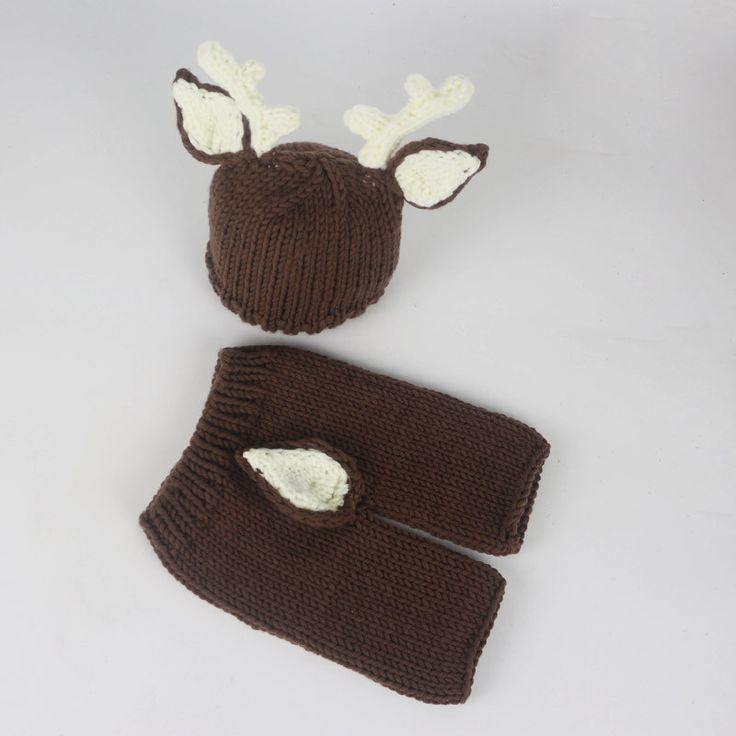 Deer Set Brown Cream Handmade Outfit (0 to 6 months)