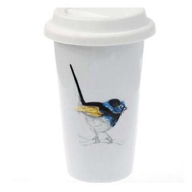 Reusable Porcelain Coffee Cup - Blue Wren.