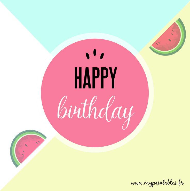 FREE PRINTABLE - Watermelon Birthday Card - Carte d'anniversaire Pastèque - Téléchargement gratuit - www.myprintables.fr