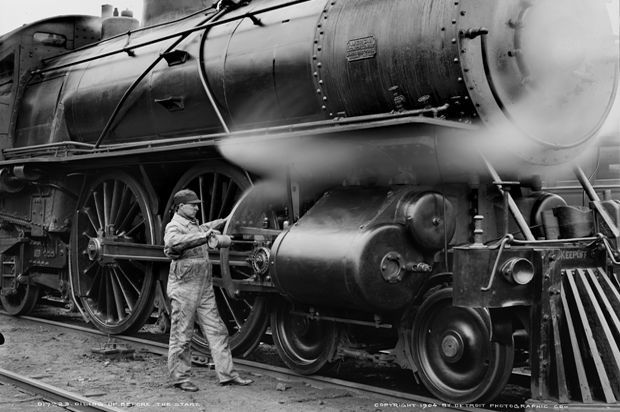 "An engineer oils a locomotive of the Michigan Central Railroad, ca.  Americans have been trading stocks for over 200 years, but the composition of the stock market has shifted as innovation creates new industries and renders others irrelevant.  Credit Suisse's recent ""Global Investment Returns Yearbook"