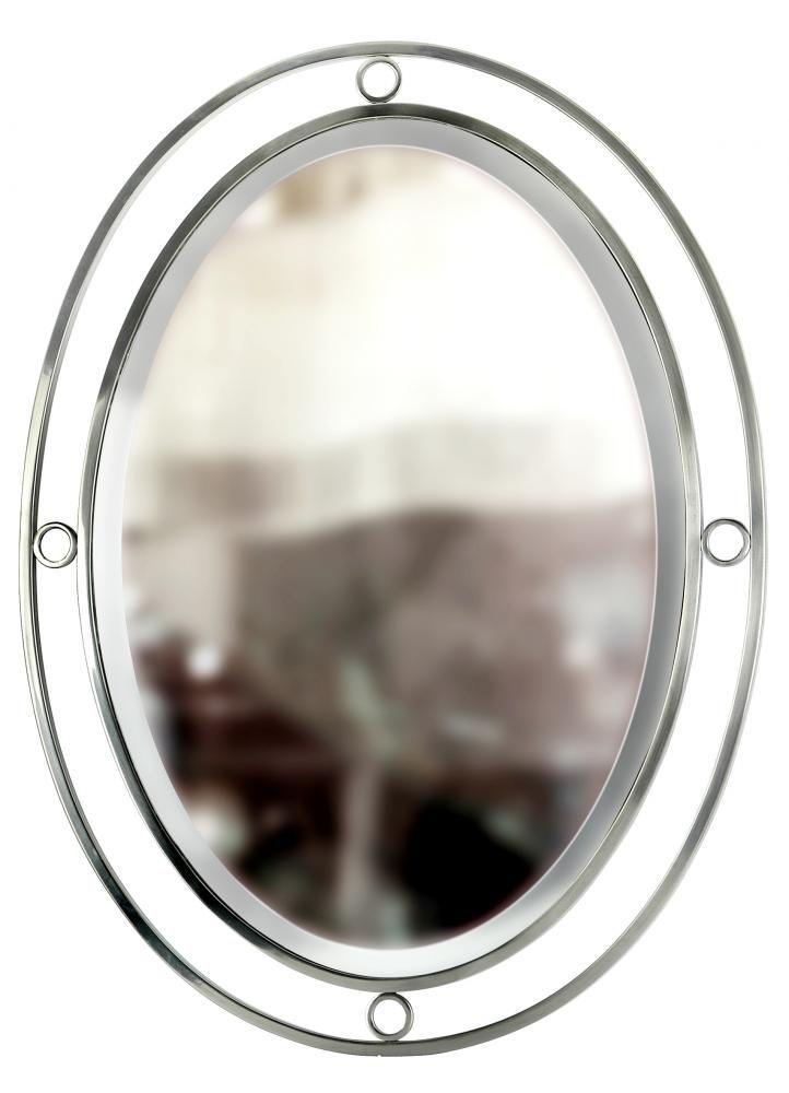 Oval pinball mirror satin nickel 227z3 bright light for Bright lights design center