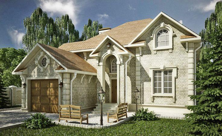 Готовый проект маленького двухэтажного мансардного дома с пятью спальнями, пристроенным гаражом на один автомобиль.