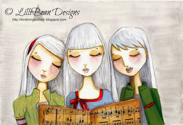 Christmas Carols Friday Art: LISTENING TO THE SQUEAK INSIDE art by Kirstin McCulloch of LilliBean Designs