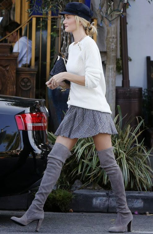 what-do-i-wear:  Rosie wearing aBalmain knit sweater with a mini skirt and thigh high boots