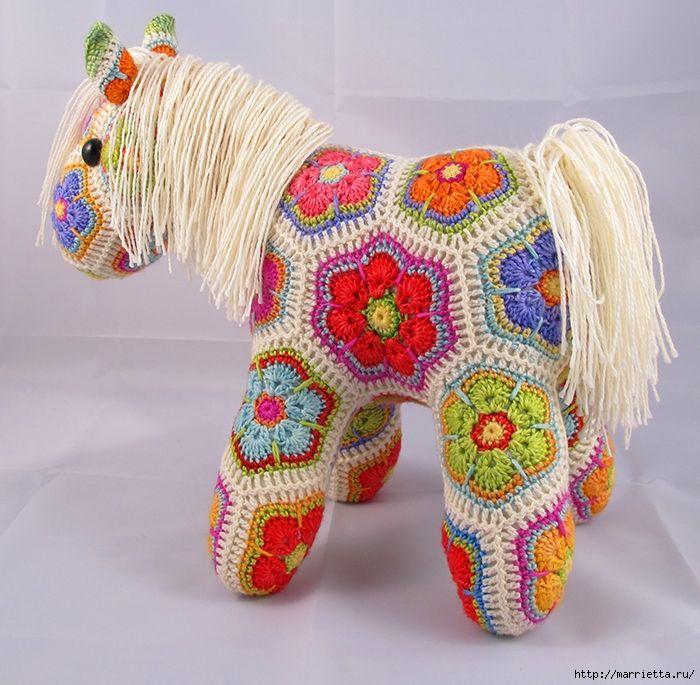Crochet African Flower Horse Pattern : Maravilloso caballo fragmento africana Flor (2) (700x685 ...