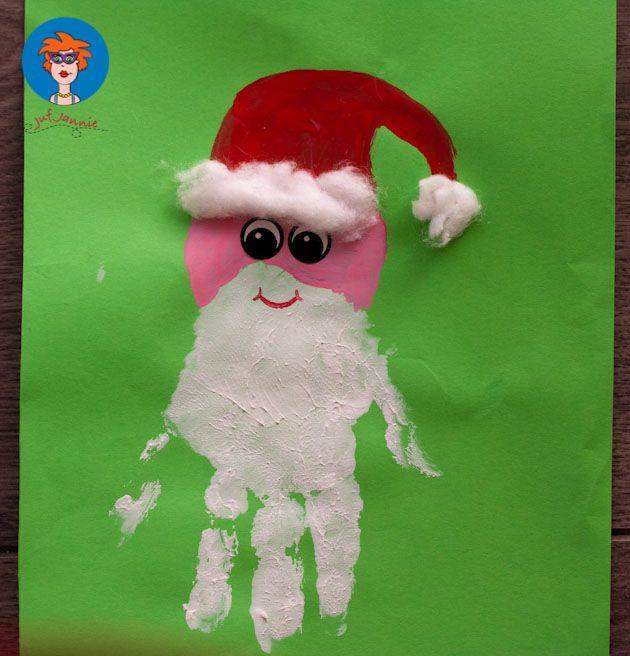 Kerstman handafdruk 2 - knutselen