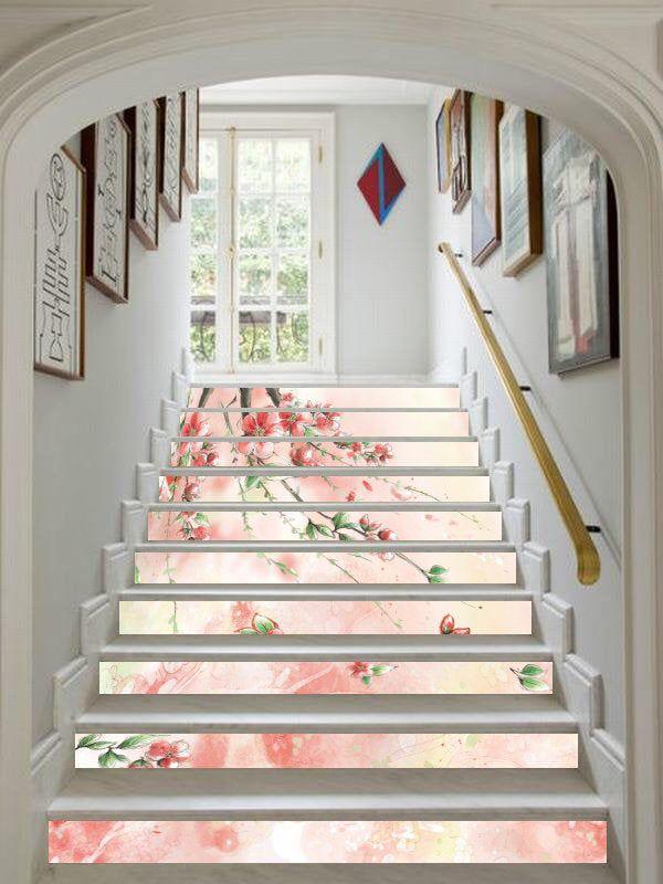 3D Bloom Floral Art 1 Tile Marble Stair Risers Decoration Vinyl Wallpaper Mural