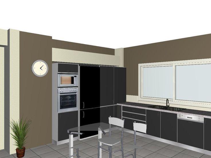 μοντερνα κουζινα, γκρι κουζινα, modern kitchen 3d