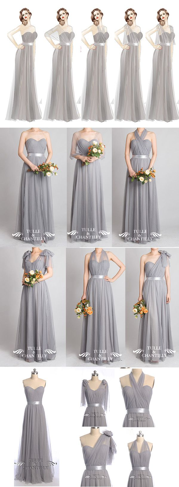 Grey wedding color ideas - Tulle Convertible Medium Grey Multi-wear Convertible Bridesmaid Dresses