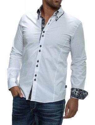 Camisa Carisma detalle cuello doble botón   white