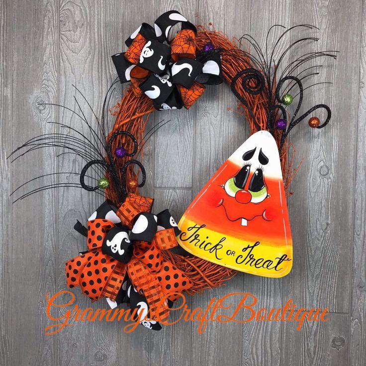 Halloween grapevine wreath, candy corn wreath sign