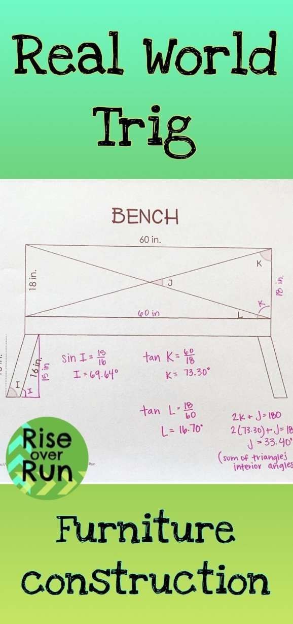 12 Building A Bench Math Worksheet Trigonometry Geometry High School High School Math Lessons