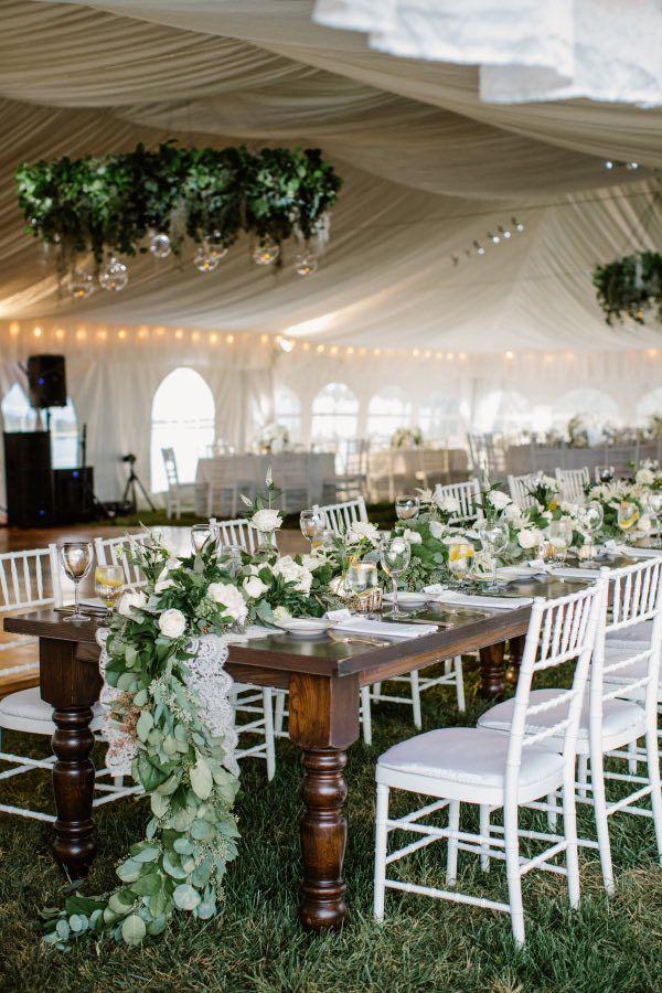 Wedding reception centerpiece idea; Featured photographer: Shannon Michele Photography
