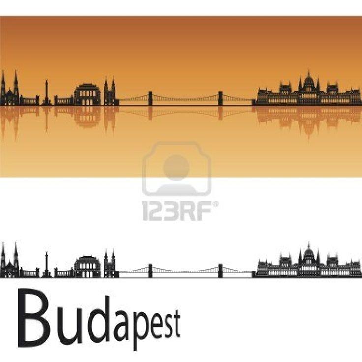 Budapest skyline in orange background in editable vector file Stock Photo - 13596003