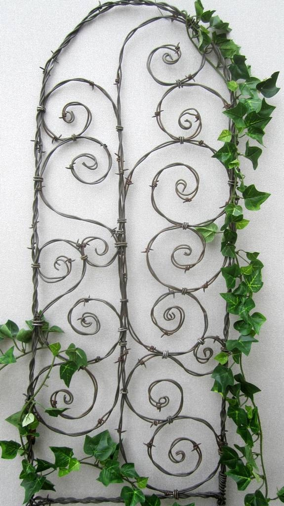 Beautiful Spirals Barbed Wire Trellis Garden Art